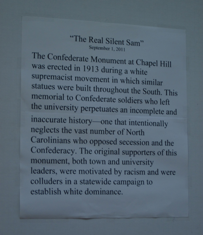 unc silent sam Unc says it can't confirm a tweet from the group claiming chancellor carol folt   we believe the confederate monument (silent sam) must be.